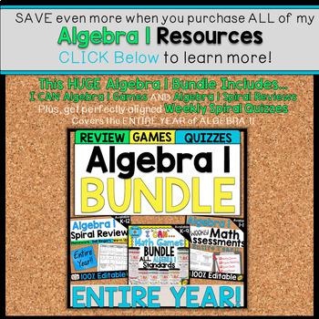 Algebra 1 Assessments   2 Weeks FREE