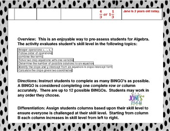 Algebra 1 BINGO Pre-Assessment