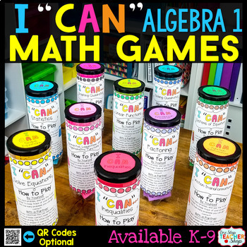 Algebra 1 BUNDLE | Spiral Review, Games & Assessments for the ENTIRE YEAR