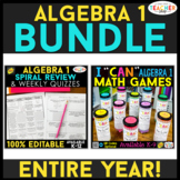 Algebra 1 BUNDLE | Spiral Review, Games & Quizzes for the