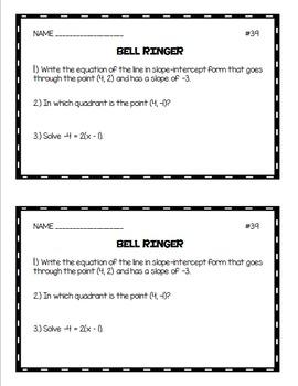 Algebra 1 Bell Ringers: Volume 1