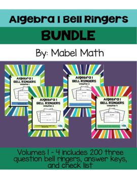 Algebra 1 Bell Ringers Bundle: Volume 1 - 4