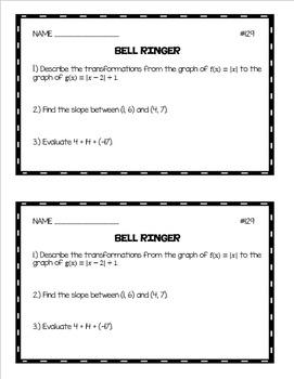 Algebra 1 Bell Ringers: Volume 3