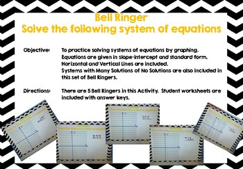 Algebra 1 Bell Ringers for Solving Systems of Equations by