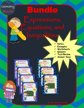 Algebra 1 Bundle: Expressions, Equations, & Inequalities