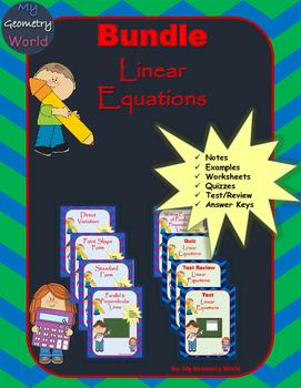 Algebra 1 Bundle: Linear Equations