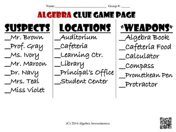 Algebra 1 CLUE Review Game for final exam and standardized tests