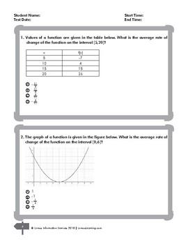 Algebra 1 Calculating and Interpreting Rate of Change Printable Worksheet
