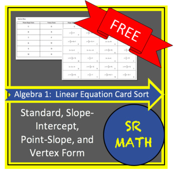 Algebra 1 Card Sort - Forms of Linear Equations