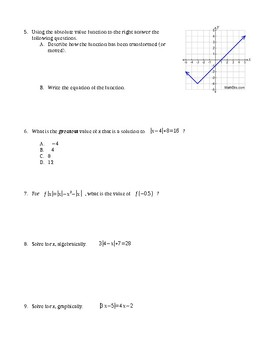 Algebra 1 Ch. 4 Test Inequalities, Absolute Value, Piecewise & Step Functions