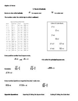 Algebra 1 Ch1 L7 Note Sheet - Roots & Radicals