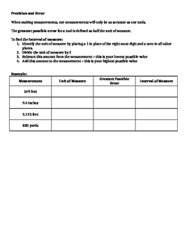 Algebra 1 Ch1 L8 Note Sheet - Sci Not, Sig Dig, Precision & Accuracy