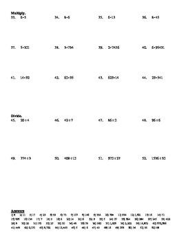 Algebra 1 - Chapter 0.1 Whole Numbers Worksheet (DOC & PDF)