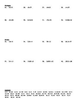 Algebra 1 - Chapter 0.3 Decimals Worksheet (DOC & PDF)