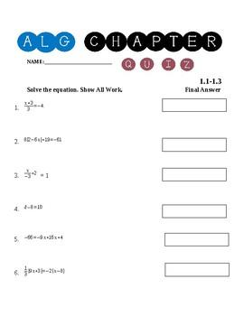 Algebra 1 Chapter 1.1-1.3 Quiz ~Solving Linear Equations~