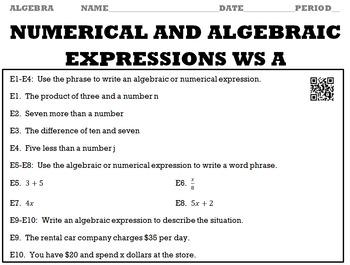 Algebra 1 Chapter 1 Complete Worksheet Set (18 Worksheets) with Keys/QR Codes
