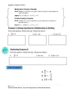 Solving Linear Equations~Alg 1 Ch 1 Student Notes~Big Idea  Aligned