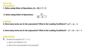 Algebra 1 Chapter 1 Warm Ups