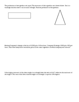 Algebra 1 Chapter 2 Lesson 4 Notes Modeling with Linear Equations
