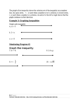Solving Linear Inequalities~Alg 1 Ch 2 Student Notes~Big Ideas Aligned