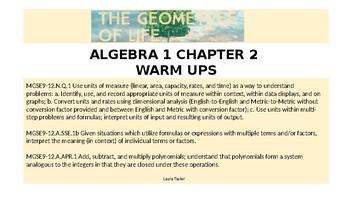 Algebra 1 Chapter 2 Warm Ups