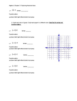 Algebra 1 Chapter 3.7 Graphing Absolute Value Discovery