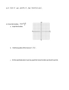 Algebra 1 Chapter 3 Test - Graphing Linear Equations and Functions