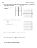Algebra 1 Chapter 3 Test - Graphing Linear Equations and F