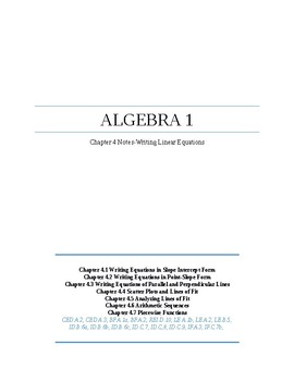 Writing Linear Equations~Alg 1 Ch 4 Student Notes~Big Ideas Textbook Aligned