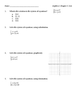Algebra 1 Chapter 5 Test Solving Systems Of Linear Equations And