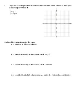 Algebra 1 Chapter 5 Test Solving Systems of Linear Equations and Inequalities