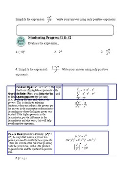 Exponential Functions & Sequence~Alg 1 Ch 6 Student Notes~Big Ideas Aligned.