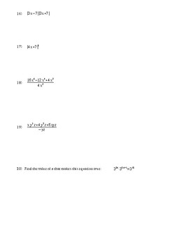 Algebra 1 Chapter 6 Test Operations with Polynomials