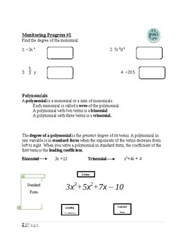 Polynomial Equations and Factoring~ Alg 1 Ch 7 Student Notes~ Big Ideas Aligned