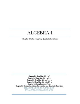Graphing Quadratic Functions~Algebra 1 Ch 8 Student Notes~ Big Ideas Aligned