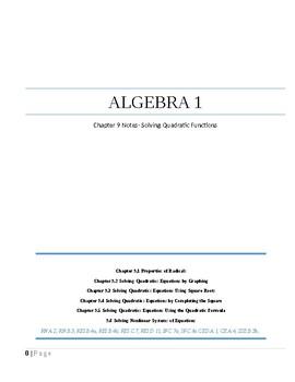 ~ Solving Quadratic Equations~Alg 1~ Chapter 9 Notes ~Big Ideas TXBK Aligned