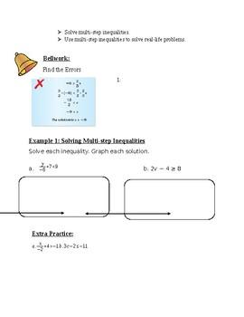 Algebra 1 Chapters 1-3 Student Notes Bundle. Big Ideas Textbook Aligned