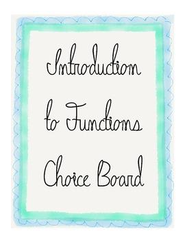 Algebra 1 Functions Choice Board Activity