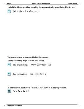 Algebra 1 (2.04): Combining Like Terms