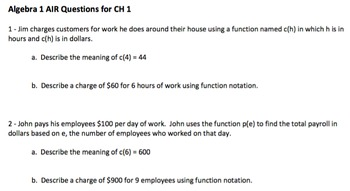 Algebra 1 Common Core (Air) Style Questions CH 1, 2, 12