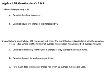 Algebra 1 Common Core (Air) Style Questions CH 3, 4