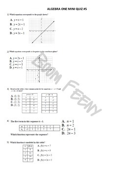 Algebra 1 Common Core Mini Quizzes (End-of-Course Test Prep)