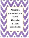 Algebra 1 Common Core Standards Checklist and I Can Statements