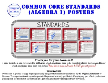Algebra 1 Common Core Standards Posters (California Standards added as well)