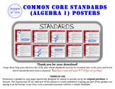 Algebra 1 Common Core Standards Posters (California Standa