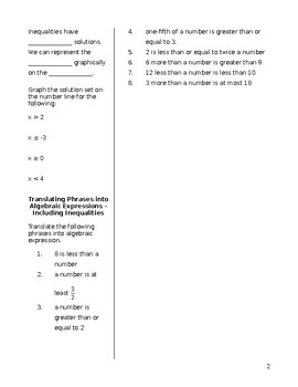 Algebra: Cornell Notes on Solving Inequalities in One Variable