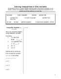 Algebra 1: Cornell Notes on Solving Inequalities in One Variable