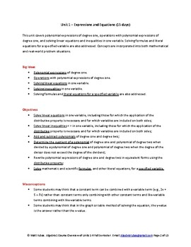 Algebra 1 Course Overview Guide of Units 1-6 Fall Semester