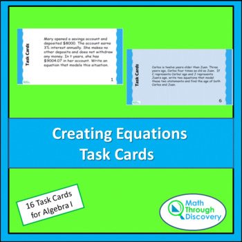 Algebra 1:  Creating Equations Task Cards