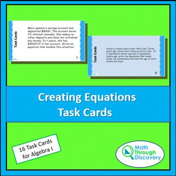Algebra 1:  Creating Equations Task Cards